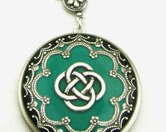 Celtic Knot Locket,Jade Celtic Knot Locket, Silver Locket, Valentine Gift For Her, Holiday Gift For Her.