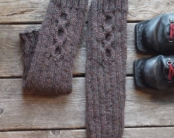 Wool leg warmers women. Natural Canadian wool brown hand knitted. Fall winter accessories