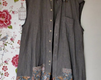 Grey Day...Plus size vest/tunic made of repurposed materials
