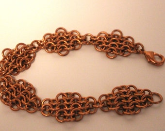 Copper European 4 in 1 Diamond Chainmaille Bracelet | Hand Crafted Chainmaille Jewelry | Handmade Bracelet