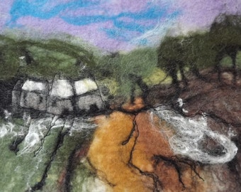 Hand Felted Landscape Fibre Art Picture/ Wallhanging