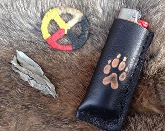 wolf track handmade black leather bic lighter case