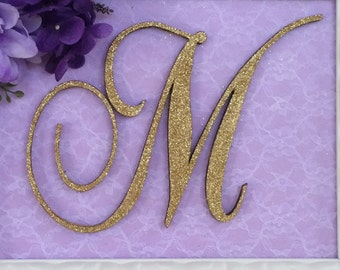 """Wooden Monogram Letter - Large or Small, Unfinished, Cursive Wooden Letter - Perfect for Crafts, DIY, Weddings - Sizes 1"""" to 36"""""""