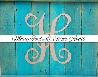 """Wooden Monogram Letter """"H"""" - Large or Small, Unfinished, Cursive Wooden Letter - Perfect for Crafts, DIY, Weddings - Sizes 1"""" to 42"""""""