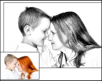Custom Portrait - Mother and child art - Family Sketch - Custom Art - Sketch of child - family portrait -art from photo - mother and son art