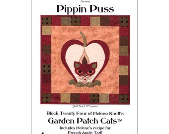"Pattern ""Pippin Puss"" Quilt Block by StoryQuilts (84) Applique Quilt Block Pattern"