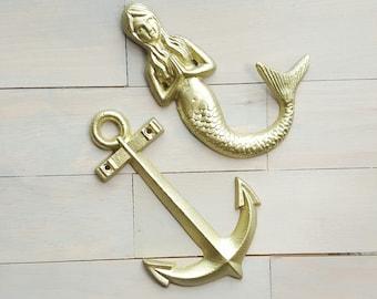 Mermaid and Anchor Wall Decor, Metal Anchor, Nautical Decor