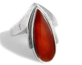 Carnelian Ring Silver Drop