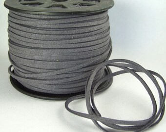 Medium Dark Gray Faux Suede Cord 20 Feet USA Seller