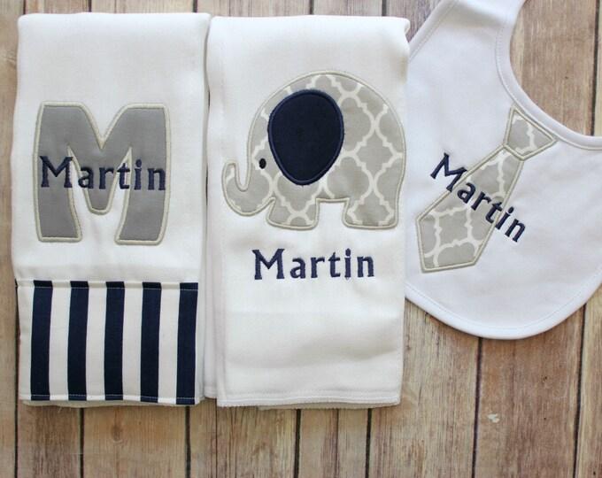 Monogrammed Elephant Burp Cloth and Tie Bib Set - Applique Elephant Burp Cloth Gift Set - Initial Burp Cloth - Baby Boy Tie Bib - Monogram