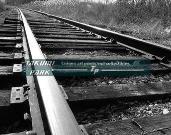 Railroad Track Photo Print, Man Cave Decor, Train Wall Decor, Black And White Print, Living Room Wall Decor, Railroad Decor, Photography