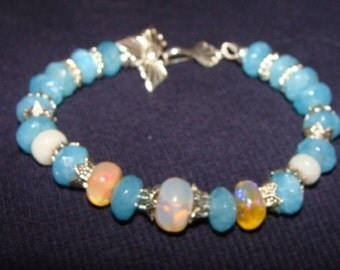 Ethiopian Opal and Angelite Bracelet in Sterling Silver