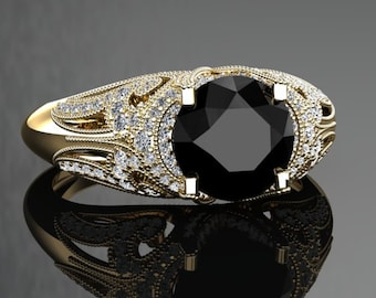 Natural Black Diamond Engagement Ring Black Diamond Ring 14k or 18k Black Gold VS1BKDY
