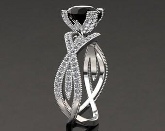 Natural Black Diamond Engagement Ring Black Diamond Ring 14k or 18k White Gold SW4BKDW