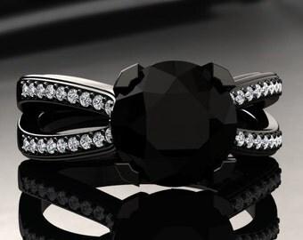 Natural Black Diamond Engagement Ring Black Diamond Ring 14k or 18k Black Gold SW7BKDBK