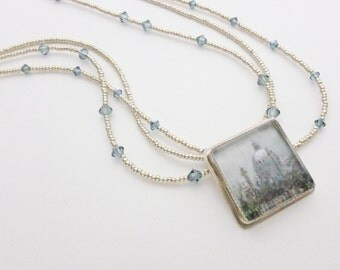 """Sterling Silver and Fine Silver Bezel Set """"Vienna"""" Necklace with Indian Sapphire Swarovski Crystal Accents"""