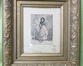 Antique French Print of Woman in Ornate Gesso Frame