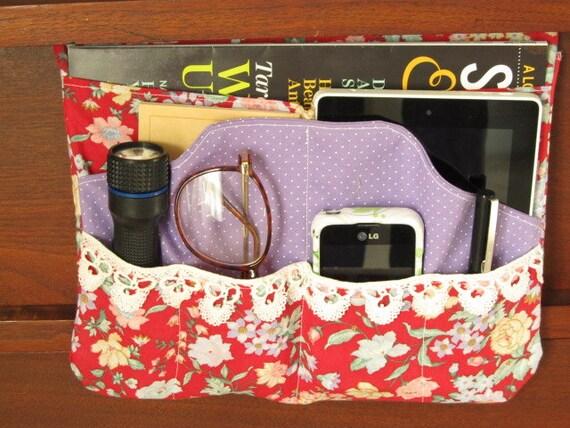Red And Purple Bed Pocket College Dorm Storage Bedside
