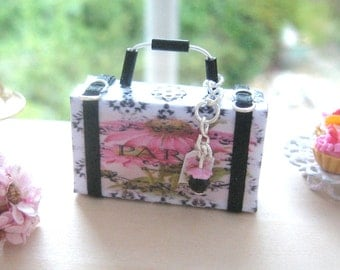dollhouse french  suitcase paris france 12th scale miniature luggage