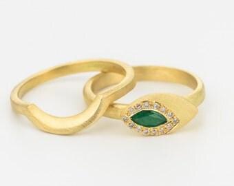 Emerald diamond ring, emerald engagement ring, 18k gold wedding band, diamond wedding ring set, gold stacking rings, edwardian wedding band