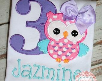 Polka Dot Owl Birthday shirt