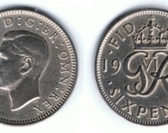 1950 Wedding Sixpence Coin - Lucky Wedding Sixpence for the Bride