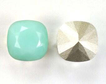 Swarovski 12mm Mint Alabaster Cushion Cut 4470 Crystal 1 Piece