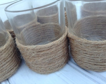 Twine Wrapped Candle Holders, glass votives, nautical, beach, wedding, shower decor, favors, home decor, set of 8 (003)