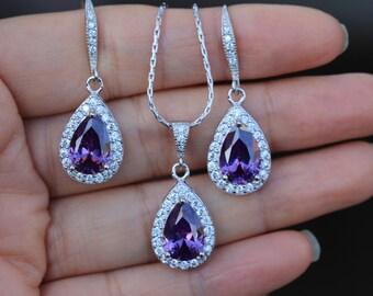 purple jewelry set Amethyst bridal jewelry wedding jewelry set purple jewelry