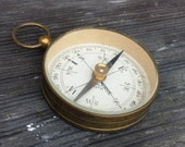 Antique working antique Compass  Made in France Vintage pendant deco glass top groom fob WW1 WW2  C13