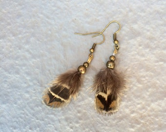 Small Feather Earrings with brass beads, tribal earrings, natural shedded cruelty free feathers