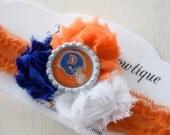 Destash SALE - Broncos Baby Headband - Denver Broncos Headband - Blue Orange and White Headband - Baby Girl Bows - Team Headbands - Adult