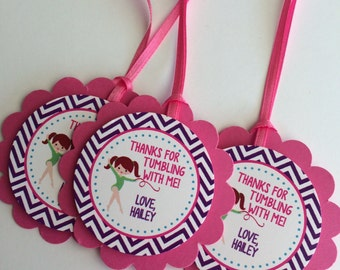 12 Girls Birthday Party Favor Tags - Gymnastics, Tumbling, - Girls Birthday Party Decorations, Girl Party Favors, FREE FAVOR BAGS