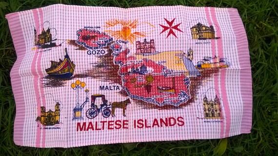 Pink Maltese Islands Dish Cloth Vintage Folk Kitchen Towel Unused Maltese Cross #sophieladydeparis