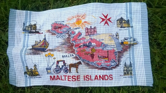 Blue Maltese Islands Dish Cloth Vintage Folk Kitchen Towel Unused Maltese Cross #sophieladydeparis
