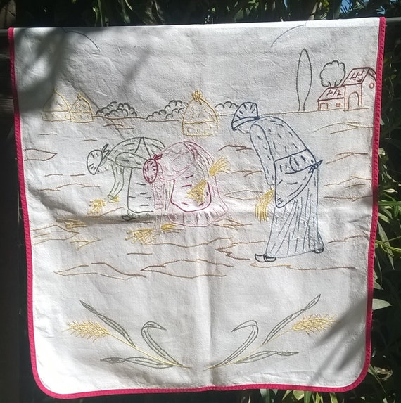 Vintage Pastoral Kitchen Curtain Red Ribbon Embroidered Wheat Harvesting Villagers French Cotton Sewing Project #sophieladydeparis