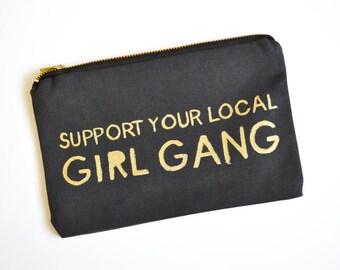 Girl Gang Feminist Gift Girl Power Canvas Pouch Zipper Clutch Feminist Quotes Resist Makeup Bag Travel Clutch Purse Resist Bridesmaid Gift