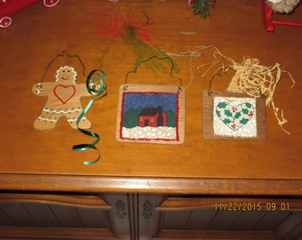 Three wooden handmade Christmas ornaments Gingerbread Man & More
