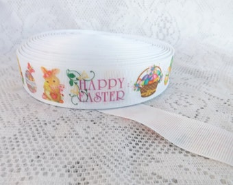 Easter ribbon 1 inch Happy Easter grosgrain ribbon Easter Eggs  ribbon
