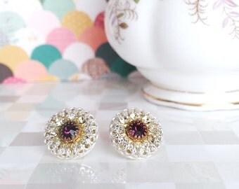 Crystal Stud Earrings | Bezel Set | Amethyst & Crystal | Vintage Swarovski Crystal Flowers | Set in Sterling Silver