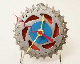 "Bicycle Gear Clock - Orange, Blue, Yellow, Red - 3.75"""