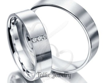 Matching Wedding Rings,His & Hers Wedding Bands,14k White Gold Diamond Wedding Rings,Womens Wedding Bands,Couple Wedding Rings,His and Hers