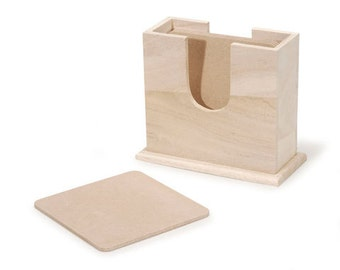 Unfinished Wood Coaster Set with Holder - 4 Square Coasters