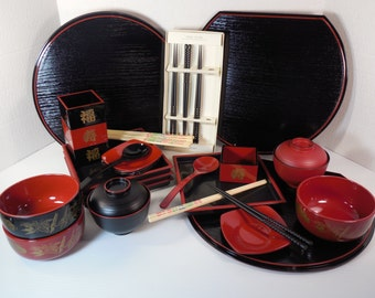 Vintage Sushi Set Japanese Chinese Asian Dinnerware Dish Set Thirty Two 32 Pieces Black Red Plastic Trays Bowls Plates Spoons Chopsticks