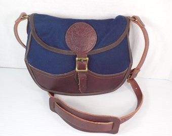Vintage Duluth Pack Navy Blue Canvas and Dark Brown Leather Messenger Hiking Hunting Fishing Camping Shoulder Bag Crossbody Purse Handbag