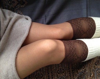 Lace Boot Cuff Socks Brown lace boot topper wellies boot cuff lace leg warmers/ READY TO SHIP