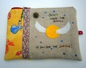 Zipper Pouch with pendant, golden snitch, Harry Potter inspired, Quidditch, yellow, blue, handmade