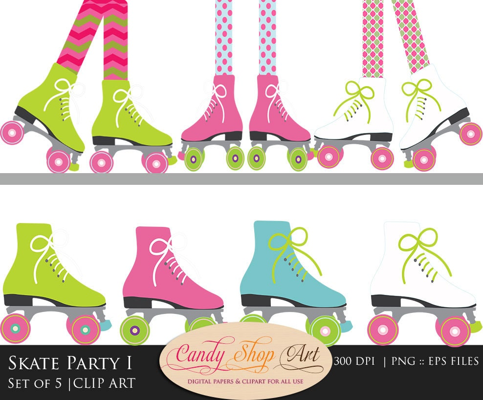 Roller Skating Clip Art Skate Party Clip by CandyShopDigitalArt