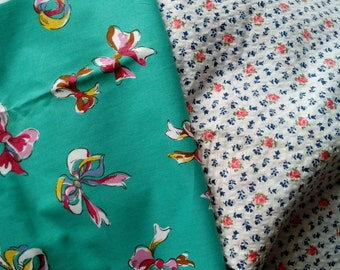 """Vintage Fabric 2 pc 1940's Fabric 36"""" wide 1 yd *** on sale*** free ship***"""