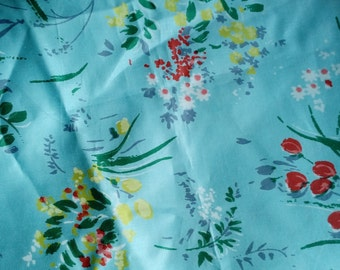 """Vintage Fabric Turquoise Floral 1950's Cotton Fabric 35"""" wide 6 yd *** on sale*** free ship***"""